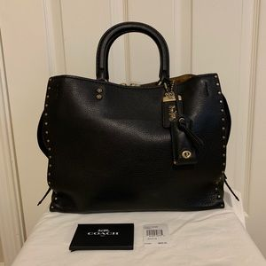 NEW Coach Rogue with Rivets 30457 Black Leather